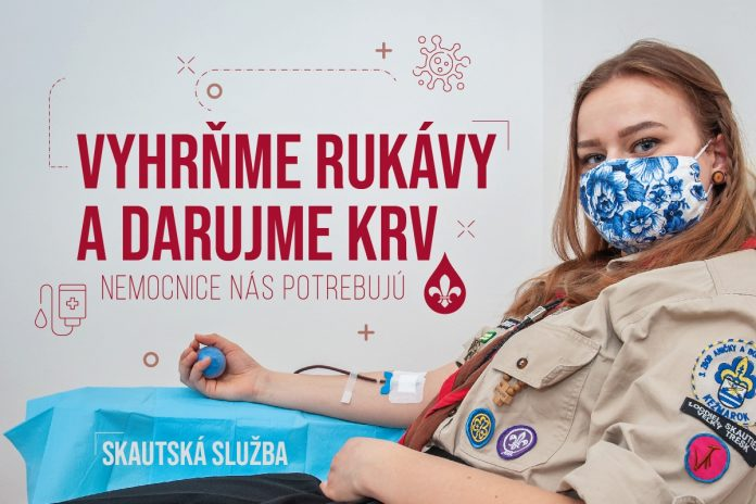 Skautská slžby vyzýva na darovanie krvi.